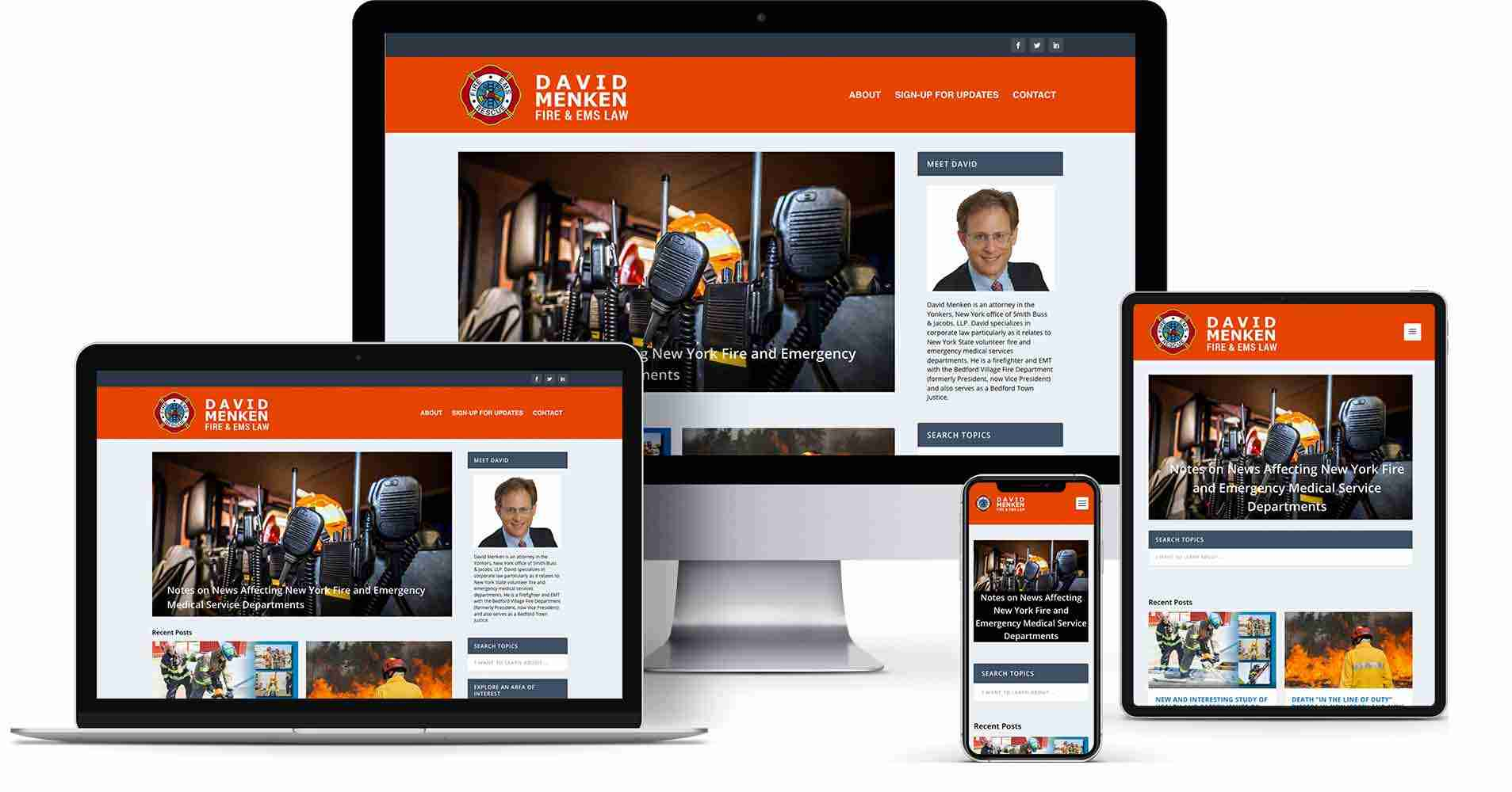 David Menken Fire & EMS Law website - redesign of a legal blog