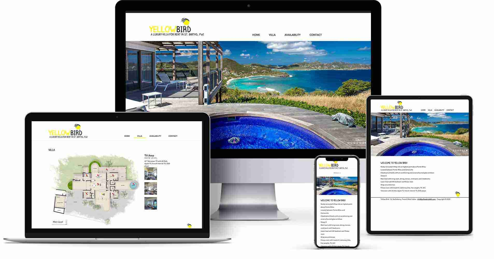 Yellow Bird SBH is an example of a vacation home rental website