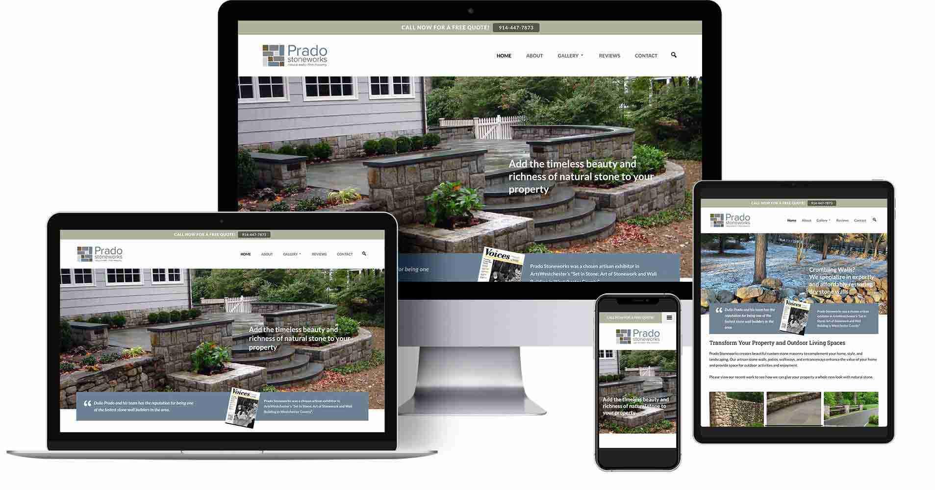 Prado Stoneworks - Stone Masonry Portfolio Website